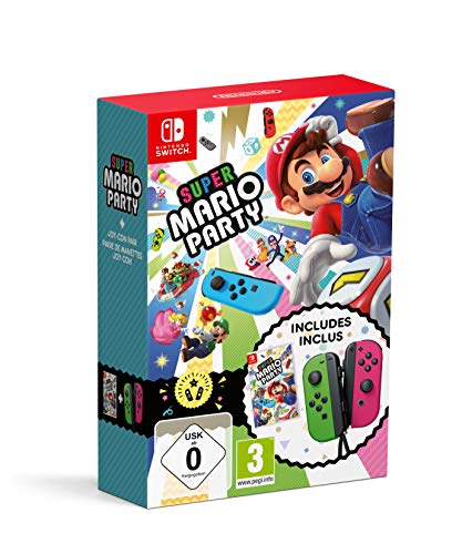 Super Mario Party + Joy Con Verde (Neón) / Rosa (Neón)