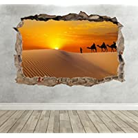 3D Sahara Desert Smashed Breakout Wall Sticker Boys Girls Bedroom Decal Poster - Extra Large Landscape 100cm (w) X 70cm (h) - Compare prices and find best deal online