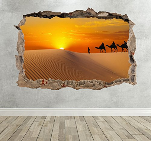 3D Sahara Desert Smashed Breakout Wall Sticker Boys Girls Bedroom Decal Poster - Extra Large Landscape 100cm (w) X 70cm (h) - Best Price