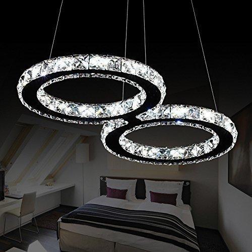 Elinkume Lustre Plafonnier Feux de Cristal 24W LED Ceiling lamp 2835 SMD LED Blanc Froid