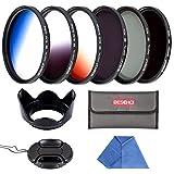 Beschoi - 58mm Filtro de Camára Lente, Packs de Filtros Fotográficos para Nikon Canon EOS DSLR Cámaras (10 PCS Incluye ND2 ND4 ND8 + Ultra Delgado Graduado Naranja Azul Gris Filtros + Aceesorios)