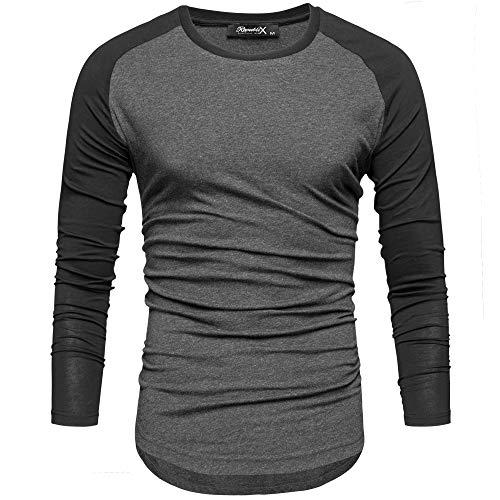 REPUBLIX Oversize Herren Longsleeve Basic 2in1 Sweatshirt Crew Neck Basic O-Ausschnitt Shirt R-0041 Anthrazit/Schwarz L