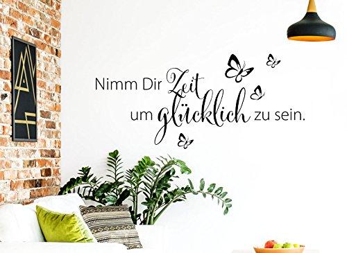 Wandaro Wandtattoo Spruch Nimm Dir Zeit um glücklich I schwarz 80 x 36 cm I Wohnzimmer Schlafzimmer Sprüche Wandsticker Wandbild Wandtatoo Glück Zitate W3307
