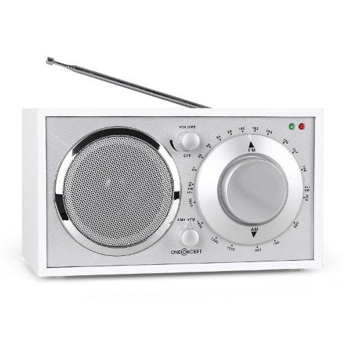 oneConcept Lausanne • Nostalgie Radio • Retro Design • UKW Empfänger • manueller Sendersuchlauf • 3,5mm-Klinken-Kopfhörer-Ausgang • AUX-Eingang zum Anschluss externer Audiogeräte • ausziehbare Teleskopantenne • LED • Bassreflexbauweise • weiß