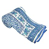 #8: URVI Creations Light Weight Traditional Rajasthani Jaipuri Sanganeri Block Printed Cotton Printed/Razai/Quilt/Rajai for Winter/AC Blanket/AC Cotton Dohar Single Bed