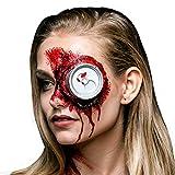 iFancy Set de Maquillaje de Halloween Lata Sangrienta Hundida en un Ojo o el Cráneo - Maquillaje de Horror con Lata en Plastico, Sangre Falsa y Látex Líquido