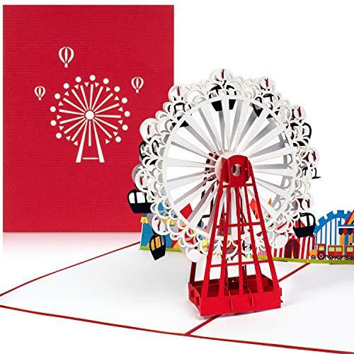 PaperCrush® Pop-Up Karte Freizeitpark mit Riesenrad [NEU!] - 3D Geburtstagskarte, Reisegutschein für Wien (Wiener Prater) -