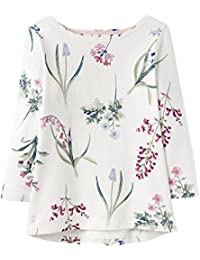 Joules Harbourprint 3/4 Length Sleeve Jersey Womens Top (Y) Cream Botanicals UK20 EU48 US16