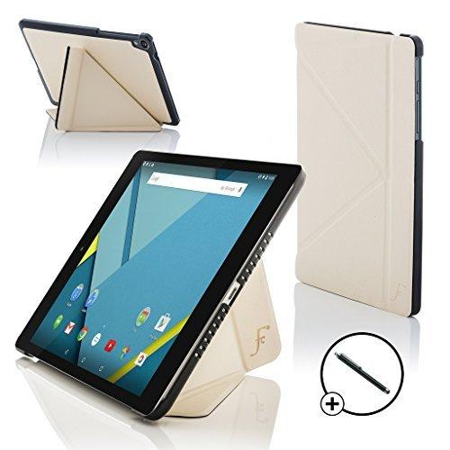 le Nexus 9 8.9 Zoll Origami Hülle Schutzhülle Tasche Bumper Folio Smart Case Cover Stand - Rundum-Geräteschutz und intelligente Auto Schlaf/Wach Funktion + Stift (WEIß) ()