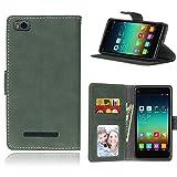 Telefono Caso per Xiaomi Mi 4i 4c Mi4i Mi4c M4i M4c ,PU Custodia In Pelle 3 Carte Slot Credito Flip Cover Case Chiusura Magnetica(Verde)