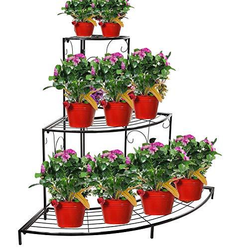 Nutech Impex 3 Tier Black Metal Plant Stand Flower Pot Rack