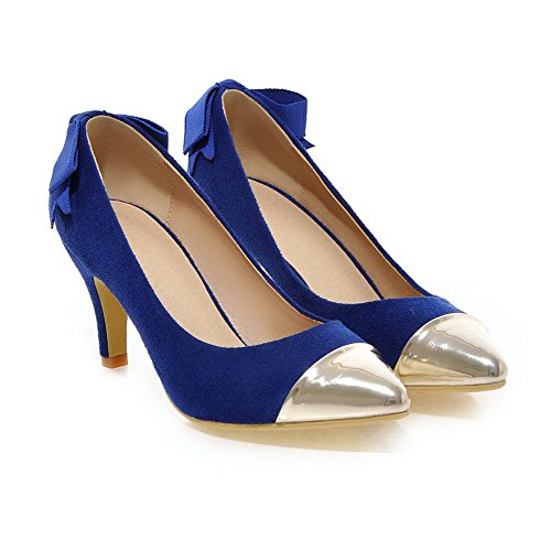 VogueZone009 Femme à Talon Haut Pointu Fermeture D'Orteil Tire Chaussures Légeres Bleu