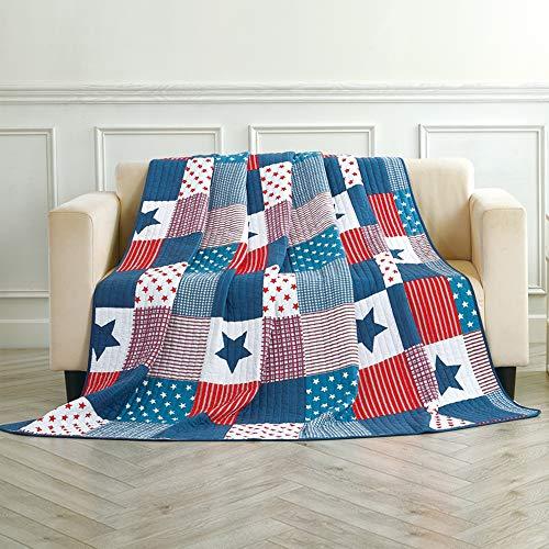 Asvert Quilt Tagesdecke 100% Baumwolle Bettüberwurf Steppdecke Patchwork Bettdecke (150 * 200, Blau)