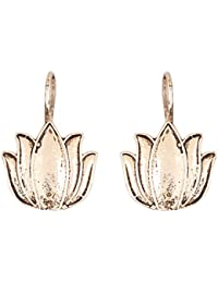 Touchstone Indian Bollywood Lotus Inspired Designer Jhumki Earrings In Silver Oxidized Tone For Women