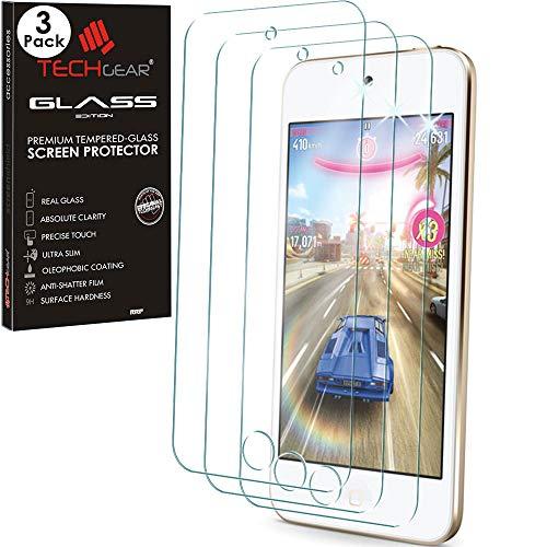 Techgear [3 pezzi vetro temperato compatibile con ipod touch 6 & ipod touch 5 - autentica pellicola protecttiva in vetro temperato per apple ipod touch 6 & ipod touch 5