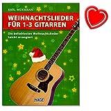 Weihnachtslieder für 1-3 Gitarren (leicht arrangiert) - Ideal für den Musikunterricht und das Musizieren in kleinen Gruppen - Autor Karl Weikmann - mit bunter herzförmiger Notenklammer