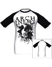 Arch Enemy, Baseball T-Shirt, Skull schwarz weiß
