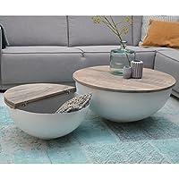ESTO GmbH Couchtisch Bowl Sophie Metall Weiß Mango Massiv Beistelltisch  Sofatisch Tisch (Ø ...
