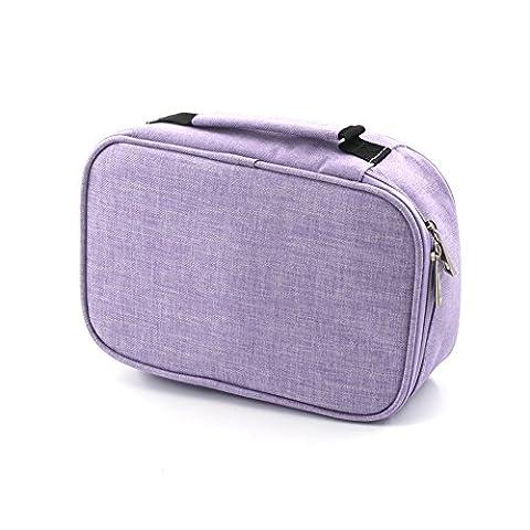 laconile großes Fassungsvermögen Bleistift Fall 72Slots Bleistift Tasche Tasche Färben Bleistift Halter Reißverschluss Tasche, für Schreiber oder anderes Zubehör violett