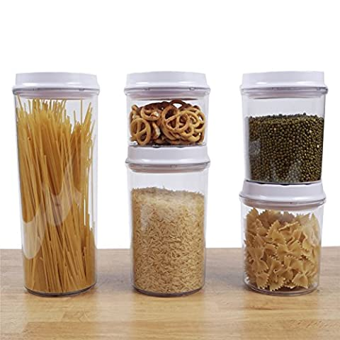 Zuvo: Airtight Seal Canister - 5pcs Set, Spin & Lock, Dishwasher Safe, Stackable, Acrylic Food Storage Container, BPA-Free (Clear Round Jar, Tinted