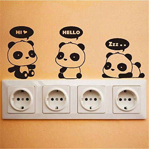 DulceCasa 3x 8*15cm Pegatina Adhesivo para Enchufe Interruptor Puerta Baño Pared Decorativo Vinilo PVC Removible Panda Oso Diseño Negro - 3 Kit