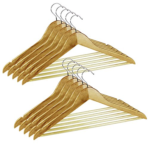 com-de-fourr-perchas-de-madera-con-barra-para-pantalones-revestimiento-de-antideslizantes-10-piezas