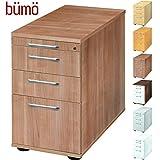 Bümö® Bürocontainer mit 4 Schüben & Schloss | Standcontainer mit Hängeregistratur aus Holz abschließbar | Container für Büro | Tischcontainer in 5 Dekoren (Nussbaum)