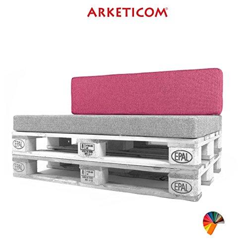 Arketicom Pallett-One Coussin Coussins Espalier pour Canape Euro Palette en Polyurethane haute densite' , Tissu Rose Fucsia Melange' Polyester Coton, Convient pour interieur et exterieur couvert 120 cm larg x 30 cm haut x 15 epass 1000% Artisanat Italien.