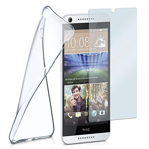 moex Silikon-Hülle für HTC Desire 626G | + Panzerglas Set [360 Grad] Glas Schutz-Folie mit Back-Cover Transparent Handy-Hülle HTC Desire 626G/626 Case Slim Schutzhülle Panzerfolie