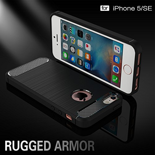 iPhone 5S Coque,COOLKE Fibre Carbone Soft TPU Shell Cover case Protection Etui Housse pour Apple iPhone 5/ iPhone 5S/ iPhone SE - Noir Noir