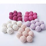 Mamimami Home Häkeln Zahnen Perlen 60 PCS 20mm rosa Serie hölzerne Teether Baumwolle Perlen Runde Perlen in rosa Schattierungen Beige Lila Farbe Baby Teether Spielzeug