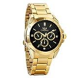 Avaner Herren-Uhr Armbanduhr Luxus Gold Ton Edelstahl Quarz Analog Business Manschette Uhr Casual Dress Armbanduhr Herren Männer