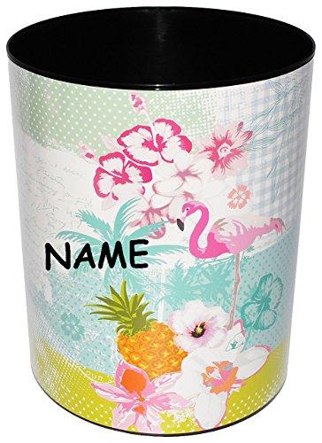 alles-meine.de GmbH Papierkorb / Behälter -  Flamingo & Hibiskus Blume - Hawaii  - incl. Name - aus Kunststoff - Mülleimer / Eimer - Aufbewahrungsbox für Kinder - Mädchen & Jun..