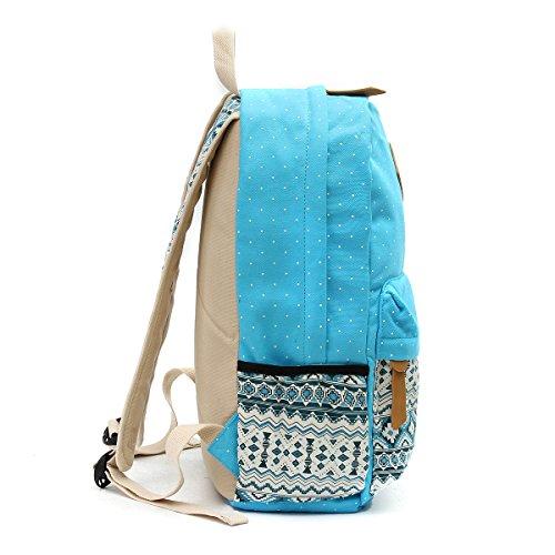 OURBAG Segeltuch Rucksack Schulter Beutel Mappe 3PCS stellte für Frauen ein Hellblau Hellblau