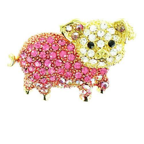 Body Bling Brosche Schweinchen vergoldet Rosa