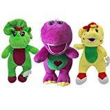 EU_LevinArt 3 pcs 18cm Cute Green Yellow Barney Dinosaur Barney and Friends Plush Toys Soft Cartoon Stuffed Animals Kids Dolls Children Gifts