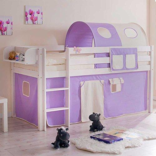 *Kinderbett mit Tunnel und Vorhang in Lila Beige halbhoch Hängeregal Nein Pharao24*