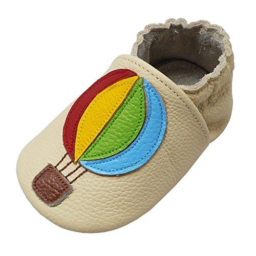 Yalion Baby Weiche Leder Lauflernschuhe Krabbelschuhe Hausschuhe Lederpuschen mit Heißluftballon (0-6 Monate, Beige) (Baby Mokassins Größe 1)