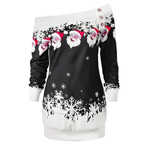 AmazingDays Femme T-Shirt Joyeux NoëL Santa Flocons D'Impression Haut Manches Longues Chemise Chemisier Black