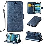 Linvei Galaxy S3 I9300 Cover,Elefants Muster PU Leder Flip Cover Handyhülle mit Standfunktion Kartenfächer Wallet Case Schutzhülle für Samsung Galaxy S3 I9300/S3 Neo - Dunkelblau