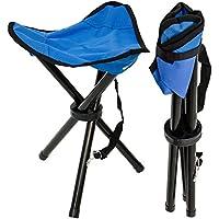 Eyepower Taburete Plegable de Campamento   Banquillo Ideal para IR de Pesca Viaje Camping Acampada etc   Práctica Sillita Trípode fácil de Transportar   Azul