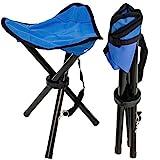 EYEPOWER Sgabello Pieghevole da Campeggio | Sgabellino per Pesca | Pratica sediolina treppiedi Facile da trasportare | Blu