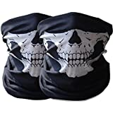 2x Premium Multifunktionstuch   Sturmmaske   Bandana   Schlauchtuch   Halstuch mit Totenkopf- Skelettmasken für Motorrad Fahrrad Ski Paintball Gamer Karneval Kostüm Skull Maske