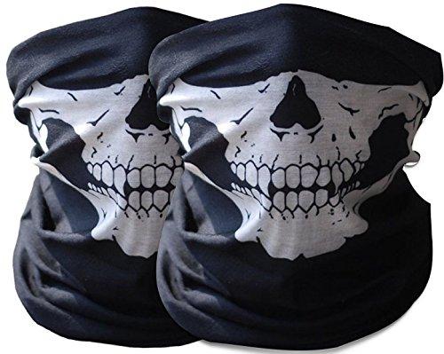 2x Premium Multifunktionstuch | Sturmmaske | Bandana | Schlauchtuch | Halstuch mit Totenkopf- Skelettmasken für Motorrad Fahrrad Ski Paintball Gamer Karneval Kostüm Skull Maske (Die Kostüme Fallen)