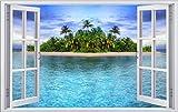 Insel Palmen Strand Meer Sand Sonne Wandtattoo Wandsticker Wandaufkleber F0423 Größe 70 cm x 110 cm