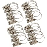 Zibuyu 20Pcs Stainless Steel Window Shower Curtain Rod Clips Rings Drapery Clips