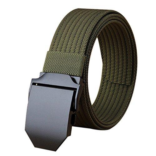 """ITIEZY Cinturón táctico, Hombre Cinturón de Nailon Estilo Militar Cinturón con Hebilla de Metal para Tactical Casual Outsoors Senderismo Wear, casual , Lenght: Up to 49.21""""(125cm), Black Buckle 2-Olive Strap"""