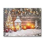NIKKY HOME Dekorativer Weihnachtsbaum und Schneekerzen beleuchtet Leinwandbild