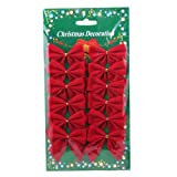 Christmas Decorations Red 12 mini 60mm 6cm Rim Velvet Xmas Ribbon Bows Ornaments