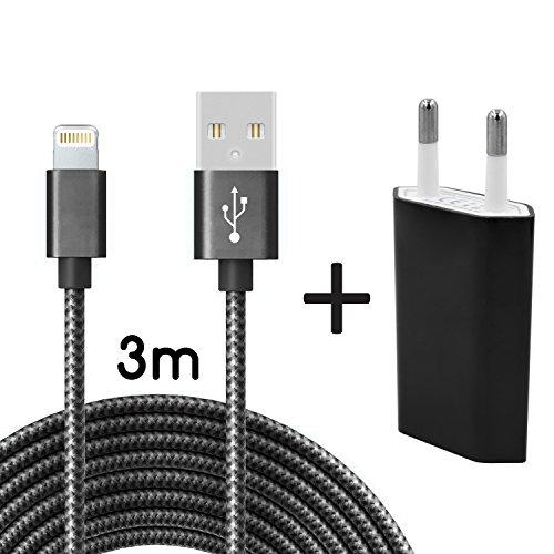 Coverlounge Ladegerät mit Lightning Kabel 3m / 3 Meter Nylon mit Netzteil/Netzstecker Lightning Ladekabel kompatibel mit Apple iPhone, iPad und iPods mit Lightning Anschluss (8 Pin) in Schwarz Schwarz Ipod Netzteil